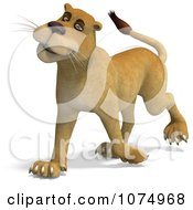 Clipart 3d Lioness Walking 1 Royalty Free CGI Illustration