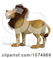 Clipart 3d Male Lion Facing Left Royalty Free CGI Illustration
