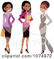 Clipart Group Of Three Professional Multi Ethnic Businesswomen Royalty Free Vector Illustration