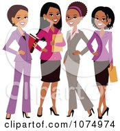 Clipart Four Professional Multi Ethnic Businesswomen Royalty Free Vector Illustration
