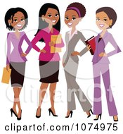 Clipart Group Of Four Professional Multi Ethnic Businesswomen Royalty Free Vector Illustration