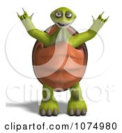Clipart 3d Scary Tortoise Standing And Holding Up His Arms Royalty Free CGI Illustration by Ralf61