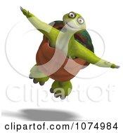 Clipart 3d Tortoise Flying Royalty Free CGI Illustration
