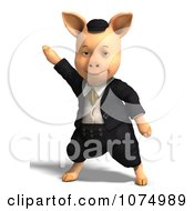 Clipart 3d Pig Dancing In Clothes Royalty Free CGI Illustration