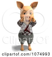 Clipart 3d Hollering Pig In Clothes Royalty Free CGI Illustration