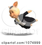 Clipart 3d Pig Flying In Clothes Royalty Free CGI Illustration
