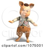 Clipart 3d Angry Pig In Clothes Royalty Free CGI Illustration