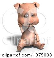 Clipart 3d Cute Pig Sitting Royalty Free CGI Illustration