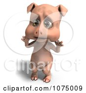 Clipart 3d Surprised Cute Pig Royalty Free CGI Illustration