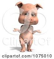 Clipart 3d Cute Pig Shrugging Royalty Free CGI Illustration