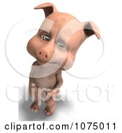 Clipart 3d Cute Pig Holding His Belly Royalty Free CGI Illustration