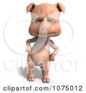 Clipart 3d Cute Pig With His Hands On His Hips Royalty Free CGI Illustration