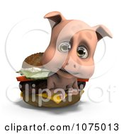 Clipart 3d Cute Pig In A Cheeseburger Royalty Free CGI Illustration
