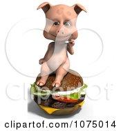 Clipart 3d Cute Pig Sitting On A Cheeseburger Royalty Free CGI Illustration