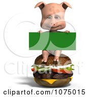 Clipart 3d Cute Pig Sitting On A Cheeseburger With A Sign Royalty Free CGI Illustration