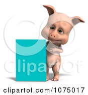 Clipart 3d Cute Pig With A Turquoise Sign Royalty Free CGI Illustration