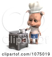 Clipart 3d Cute Pig Chef Tasting His Food Royalty Free CGI Illustration