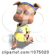 Clipart 3d Cute Pig Jogging 1 Royalty Free CGI Illustration by Ralf61