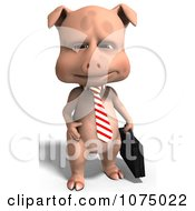 Clipart 3d Cute Business Pig Holding A Briefcase Royalty Free CGI Illustration
