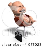 Clipart 3d Cute Business Pig Relaxing In A Chair Royalty Free CGI Illustration