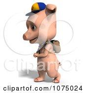 Clipart 3d Cute Pig Student Walking Royalty Free CGI Illustration