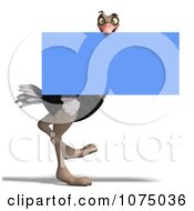 Clipart 3d Wild Ostrich Bird Carrying A Blue Sign Royalty Free CGI Illustration by Ralf61
