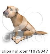 Clipart 3d Sad Yellow Lab Dog Sitting Royalty Free CGI Illustration