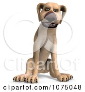 Clipart 3d Mad Yellow Lab Dog Sitting Royalty Free CGI Illustration