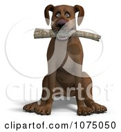 Clipart 3d Brown Dog Sitting With A Fetching Stick Royalty Free CGI Illustration by Ralf61