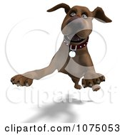 Clipart 3d Brown Dog Leaping Forward Royalty Free CGI Illustration