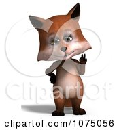 3d Cute Peace Fox Standing Upright