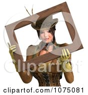 Clipart 3d Steampunk Lady Holding A Frame Around Her Face Royalty Free CGI Illustration