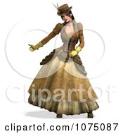 Clipart 3d Steampunk Lady Hitchhiking Royalty Free CGI Illustration