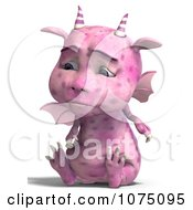 Clipart Sad Pink Devil Dragon Sitting Royalty Free CGI Illustration by Ralf61