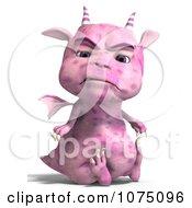 Clipart Mad Pink Devil Dragon Sitting Royalty Free CGI Illustration by Ralf61