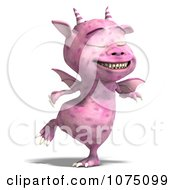 Clipart Pink Devil Dragon Dancing 3 Royalty Free CGI Illustration