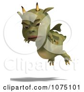 Clipart Mad Green Devil Dragon Flying Royalty Free CGI Illustration by Ralf61