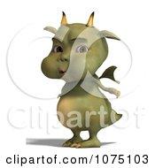 Clipart Green Devil Dragon Holding His Breath Royalty Free CGI Illustration by Ralf61