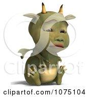 Clipart Sad Green Devil Dragon Sitting 1 Royalty Free CGI Illustration by Ralf61