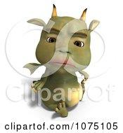 Clipart Sad Green Devil Dragon Sitting 2 Royalty Free CGI Illustration by Ralf61