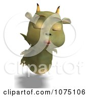 Clipart Puckered Green Devil Dragon Flying Royalty Free CGI Illustration by Ralf61