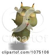 Clipart Puckered Green Devil Dragon Flying Royalty Free CGI Illustration