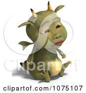 Clipart Sad Green Devil Dragon Sitting 3 Royalty Free CGI Illustration by Ralf61