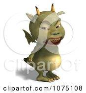 Clipart Mad Green Devil Dragon 3 Royalty Free CGI Illustration by Ralf61