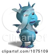 Clipart Blue Devil Dragon Looking To The Side Royalty Free CGI Illustration