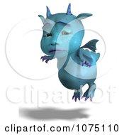 Clipart Upset Blue Devil Dragon Flying Royalty Free CGI Illustration by Ralf61