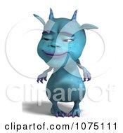 Clipart Blue Devil Dragon Grinning 1 Royalty Free CGI Illustration by Ralf61