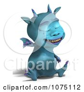 Clipart Blue Devil Dragon Laughing And Sitting Royalty Free CGI Illustration