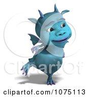 Clipart Blue Devil Dragon Grinning 4 Royalty Free CGI Illustration by Ralf61