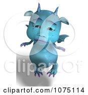 Clipart Sad Blue Devil Dragon Royalty Free CGI Illustration by Ralf61